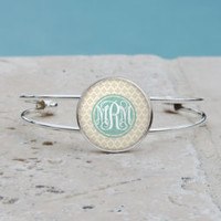 Shabby Chic Soft Taupe Quatrefoil Monogram Pendant Necklace, Monogram Cuff Bangle Bracelet, Monogram, Gifts for her