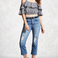 Contemporary Gingham Crop Top