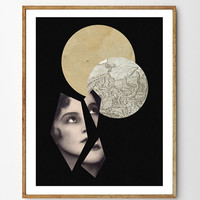 Apart - Archival Giclee Art Print, collage, vintage, mixed media art