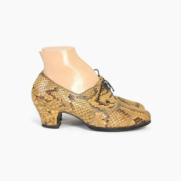 Vintage 40s OXFORDS / Vintage 1940s PYTHON Snake Skin Lace-Up Swing Shoes Heels 8 1/2