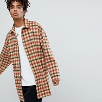 Reclaimed Vintage Inspired Overcoat In Tan Check at asos.com