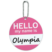 Olympia Hello My Name Is Round ID Card Luggage Tag