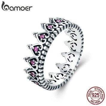 BAMOER 925 Sterling Silver Romantic Stackable Crown Heart Pink CZ Finger Rings for Women Sterling Silver Jewelry Anel SCR257