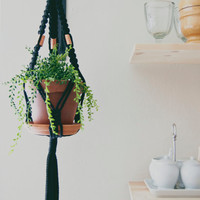 Copper and Black Macrame Plant Hanger