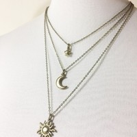 Celestial Layered Necklace: sun, moon and star charms, multi-strand cosmic jewelry