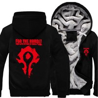 Game Periphery World of Warcraft Casual Thick  Men's Warm Cotton Coat WOW Horde Hoodie Alliance Logo Hooded Sweatshirt