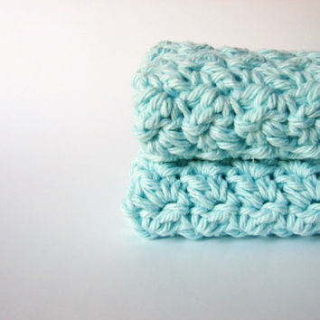 Crochet Washcloths Mint Green Eco Friendly Cotton by MyHobbyShop