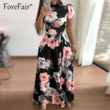 Forefair Floral Print Casual Loose Maxi Dress Women Summer Dress Short Sleeve Turtleneck Tie Waist Long Dresses Robe Femme