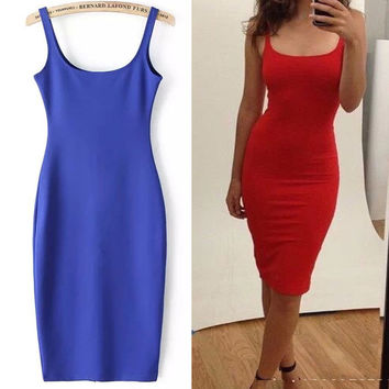 Women Simple Casual Dress Simple Brand Designer Sleeveless American Apparel Summer Style dresses Tango Vestidos Z1066