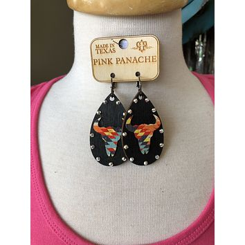 Black Wooden Bullhead- pink panache earrings