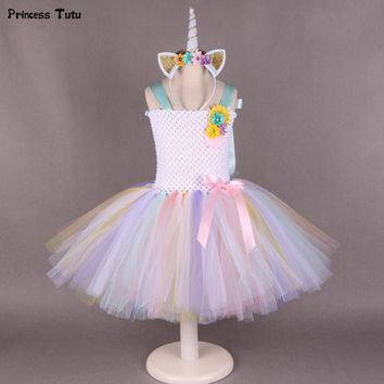Pony Unicorn Tutu Dress Girl Kids Birthday Party Dress Up Rainbow Girls Christmas Halloween Cosplay Dress Costume With Headband
