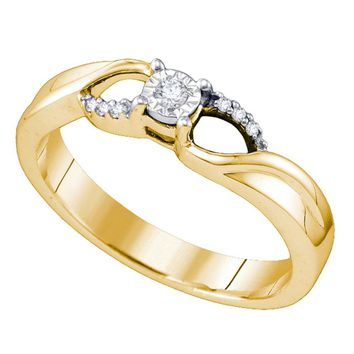 Sterling Silver Womens Round Diamond Band Promise Bridal Engagement Ring 1/20 Cttw