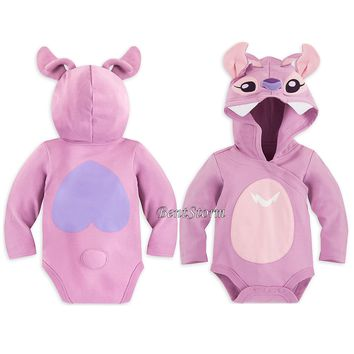 Licensed cool Lilo & Stitch Angel Baby Bodysuit Costume Hood & 3D Ears Antenna Disney Store