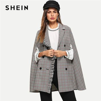 SHEIN Multicolor Workwear Elegant Frill Trim Double Button Cloak Sleeve Plaid Cape Coat Highstreet Coats Outerwear