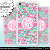 Monogram Lobsters iPhone 5C 6 Case 6 Plus iPhone 5s 4 case Ipod 4 5 Touch Cover Aqua Pink Coral Pastels Personalized