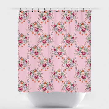 Pink Rose Shabby Chic Floral Shower Curtain