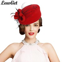 Fascinator Hats for Women Winter Embroidered Veil Wool Felt Pillbox Hats for Formal Cocktail Party Wedding Hats Dress Fedoras