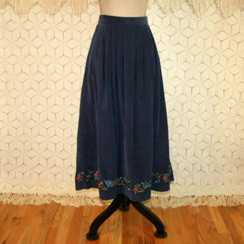 Blue Corduroy Maxi Skirt High Waist Embroidered Long Full Skirt Swing Skirt with Pockets Womens Skirts 80s Clothing 1980s Vintage Clothing