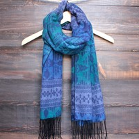 tribal ombre scarf with tassels - winter blue