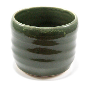 Dark green whiskey glass - short ceramic tumbler - rocks glass - stemless wine glass - handless mug - pottery tumbler - green stoneware mug