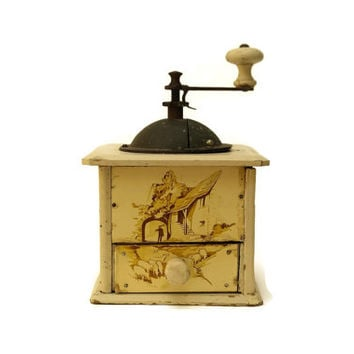 Antique French Coffee Grinder. Coffee Mill. French Country Cottage Kitchen Decor.