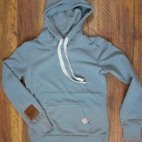 Saddles & Lace Solid Hoodie - Dusty Blue