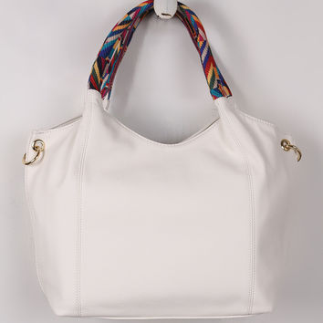 Vegan Leather Colorful Woven Handles Tote Bag