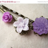 Purple Flower Hair Pins. Summer Hair Accessories. Rose, Chrysanthemum & Lily. Bronze Filigree Bobby Pins. Set of 3. Hair Trends.