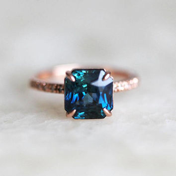 Sapphire Ring, Blue Sapphire Engagement Ring, Green Sapphire Engagement Ring, Bicolor Sapphire Ring, Teal Sapphire Ring, Peacock Sapphire