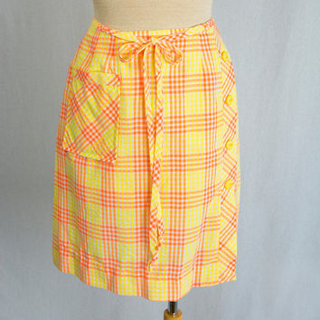 Mod Vintage Mini Scooter Skirt Orange and Yellow Plaid Button Detail 1970's
