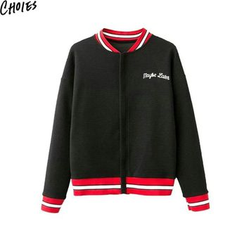 Women Black Floral Embroidery Zip Up Vintage Long Sleeve Pilot Bomber Jacket Autumn New Striped Collar Casual Baseball Coat