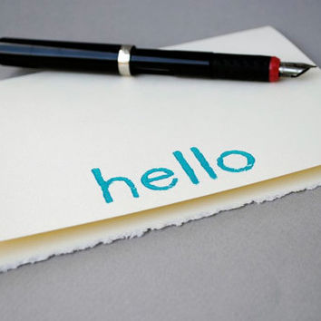 Blank Notecard Hello Greeting Card Turquoise on by CursiveArts