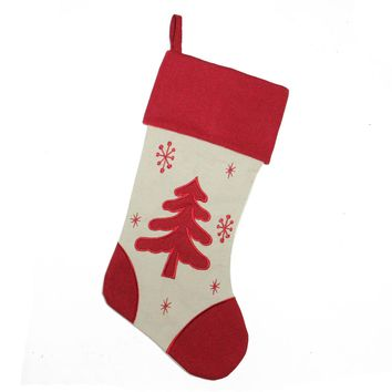 "18"" White and Red Tree with Snowflakes Rustic Christmas Stocking with Red Cuff"