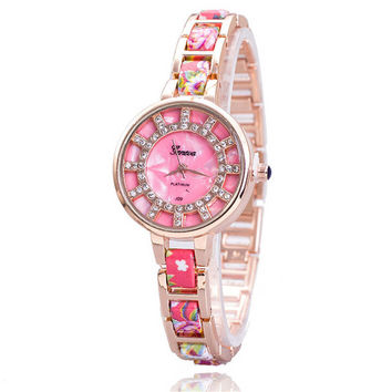 Womens Pink Floral Strap Watch with Diamond Girls Retro Casual Sports Watches + Beautiful Gift Box