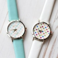 Multi Color Polka Dot Print Watch