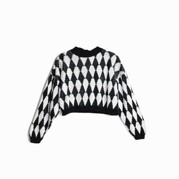 Vintage Cropped 80s Sweater / Black and White Harlequin Diamond Sweater - women's xs/small
