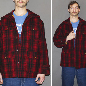 Vintage 40s 50s WOOLRICH COAT / Buffalo Plaid, Black + Red Check / Wool Mackinaw Plaid / Outdoorsmen, Hunters Jacket / Grunge Flannel / Med