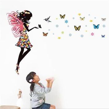 Colorful Angel Wings Wall Stickers with Butterflies