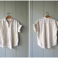 Oversized 80s White Beige Striped TShirt Cotton Button Up Minimal Casual Short Sleeve Shirt Hipster Vintage Preppy Beach Shirt Womens Medium