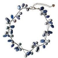 NOVICA Pearl and lapis lazuli choker, 'Ethereal' - Beaded Lapis Lazuli and Pearl Necklace from Thailand