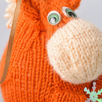 Handmade funny knit soft toy fat orange cow with eyelet for hanging