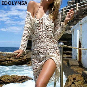 New Arrivals Sexy Beach Cover up Crochet White Swimwear Dress Ladies Bathing Suit Cover ups Beach Tunic