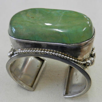 OOAK Boho Highly Collectible Vintage Signed Sterling Silver And Green Turquoise Cuff Bracelet Hand Made By Gale Self Of The Choctaw Nation