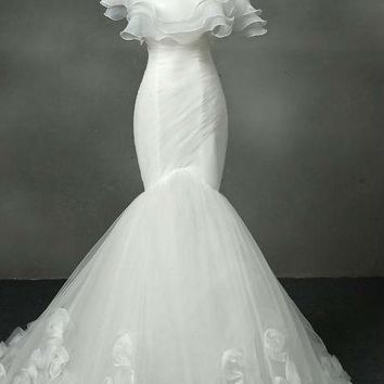 Strapless Wedding Dress Mermaid Tulle With Ruffles Wedding Dresses