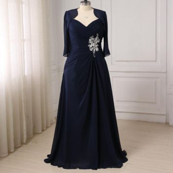 V Neck Chiffon Mother of the Bride Dresses Floor length Pleats Body Mother Gowns with Jacket