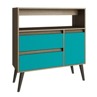 Gota High Side Table Oak/ Aqua/ Grey