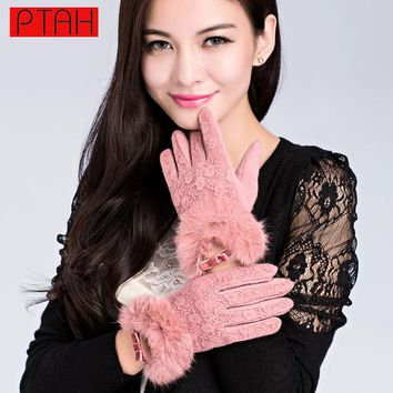 PTAH Women Winter Lace Solid Wool Gloves Wrist Rabbit Fur Mittens For Ladies Fashion High Quality Outdoor Warmth Guantes 9819