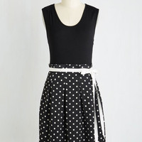 Sleeveless Fit & Flare Scenic Road Trip Dress in Black Dots