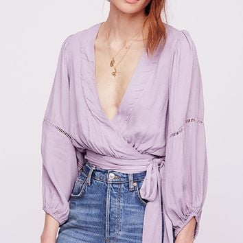 Dream Girl Wrap Top - Lavender by Free People