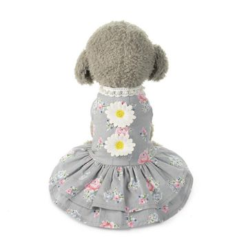 New Summer Cute Dog Floral Dress Puppy Country style sunflower dress Puppy Clothes Pets dog princess dress